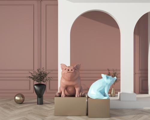北欧风格雕塑 猪猪摆件