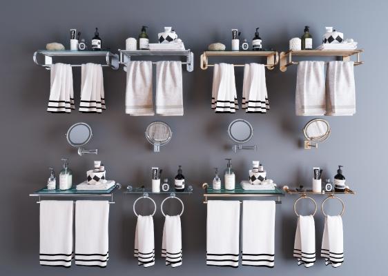 现代卫生间毛巾架 置物架 洁具 卫浴五金件组合 浴巾架 镜子