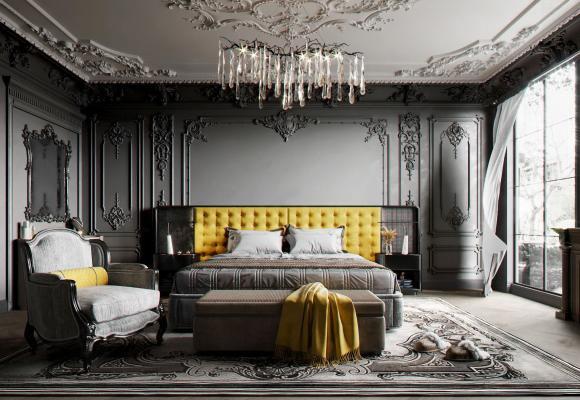 美式卧室 床 衣柜