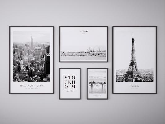 现代建筑风景挂画装饰画组合