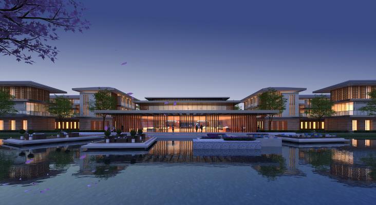 新中式会所建筑外观夜景 公建 商业建筑