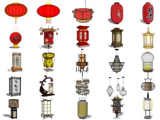 中式古典灯具组合 吊灯 红灯笼