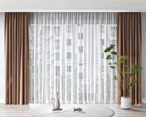现代窗帘 摆件 盆栽