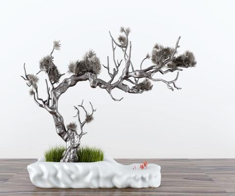 新中式松枝盆景擺件