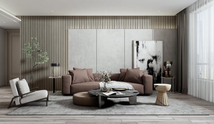 现代客餐厅 沙发茶几组合 餐桌椅组合