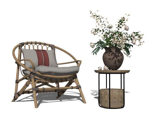 现代藤椅 角几 花艺摆件
