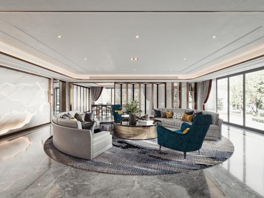 现代别墅客厅 餐厅 弧形沙发 茶几组合 休闲椅