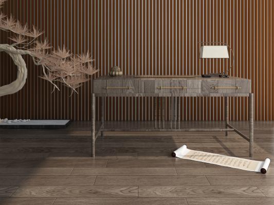 新中式全实木书桌