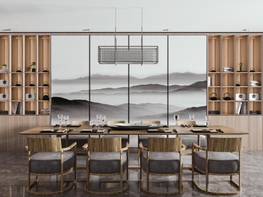 新中式餐桌椅组合 实木餐桌
