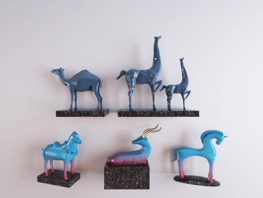 现代动物陶瓷摆件 装饰品组合 艺术品