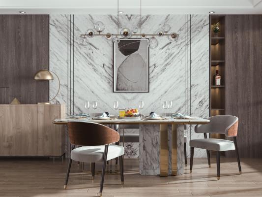 现代餐厅 餐桌椅 挂画