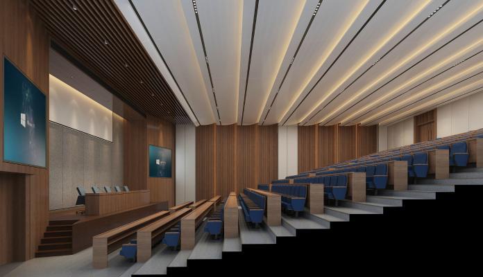 现代阶梯会议室报告厅 会议桌椅 讲台