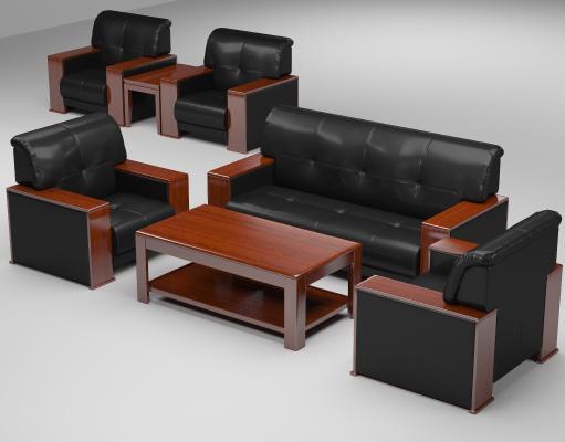 新中式办公家具办公会议沙发单人三人沙发组合