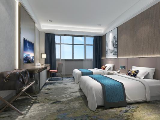 新中式风格酒店客房 电视机 挂画摆件