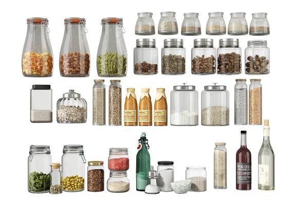 现代调味品组合 玻璃调料瓶 调料罐