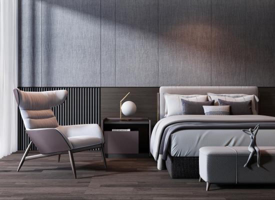 现代双人床 休闲沙发椅