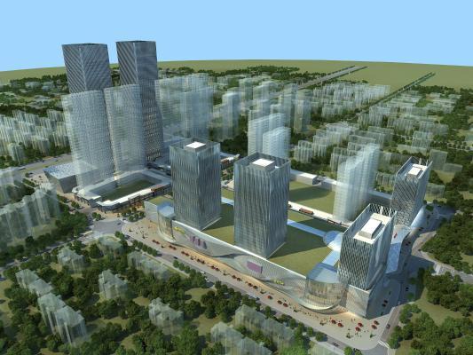 现代城市鸟瞰规划 商业综合体规划 办公楼 商业广场