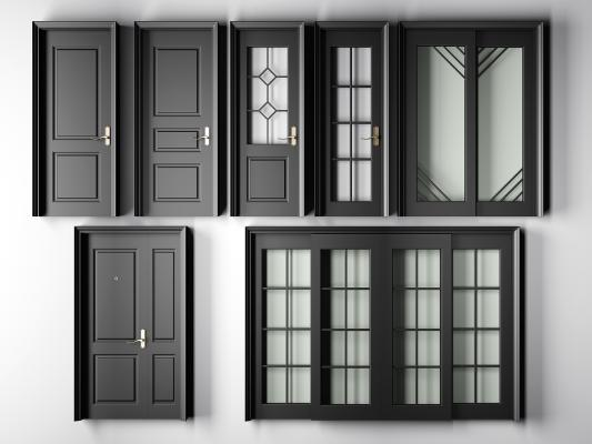 现代黑色烤漆实木平开门指母门推拉门厕所单开房门