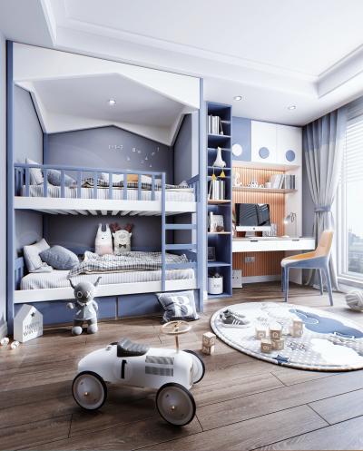 现代风格儿童房 上下铺 书桌