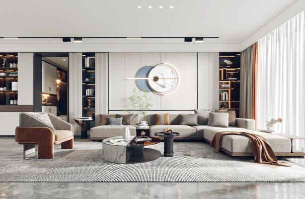現代客廳餐廳,沙發,餐桌,電視柜,酒柜,吊燈,裝飾畫