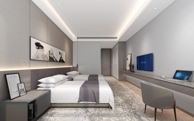 现代酒店标间 双人房 双人床