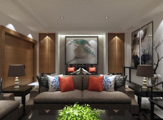 新中式客厅 休闲区