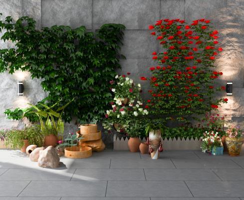现代绿植墙 盆景 盆栽 花卉 园艺小品