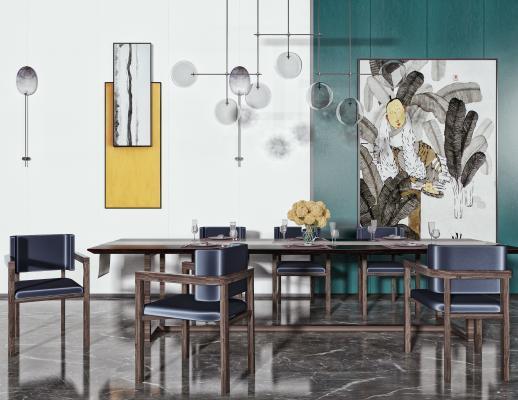现代餐桌椅 长条多人餐桌 餐椅