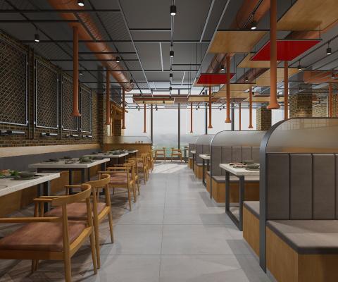 工业风烤肉店 吊灯 餐台