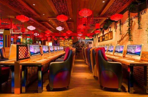 新中式网咖 网吧大厅 前台