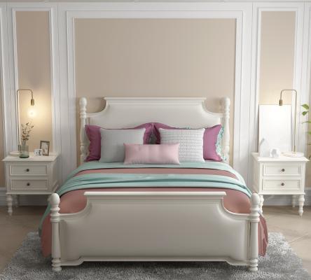 美式白色实木皮革靠包床 床头柜