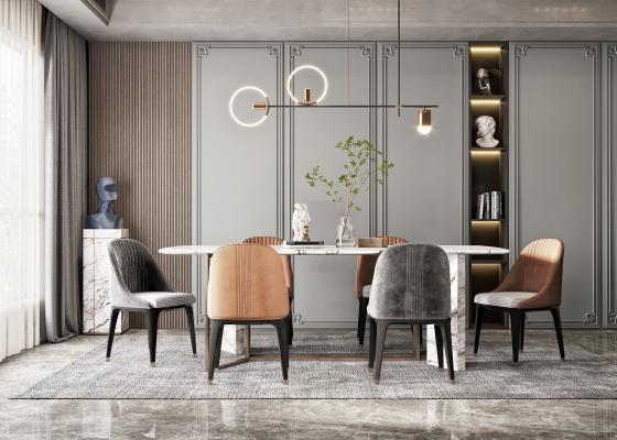 现代轻奢餐厅 餐桌椅组合 餐椅