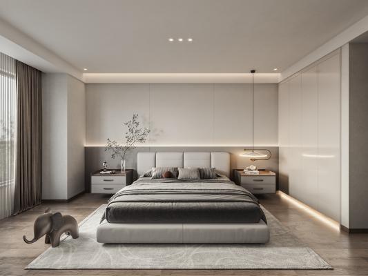 现代主卧室 卧室 双人床