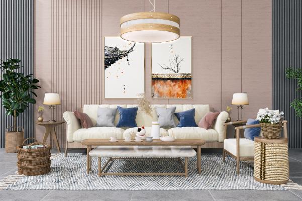 日式沙发茶几组合 吊灯 单人椅子 装饰挂画 绿植盆栽
