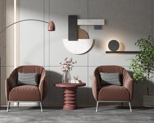 現代風格單椅 邊幾 墻飾 落地燈 盆栽 植物