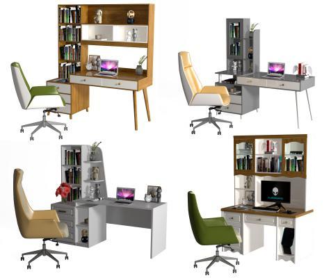 现代电脑桌椅 书桌书架 写字台 桌椅