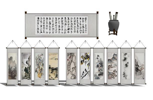 中式墙饰挂画组合