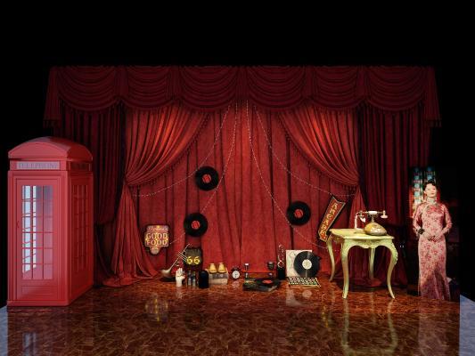 现代舞厅 舞台 幕布 唱片 老上海