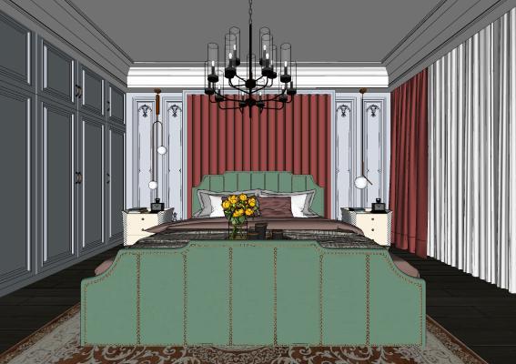 欧式主卧室 双人床 床头柜