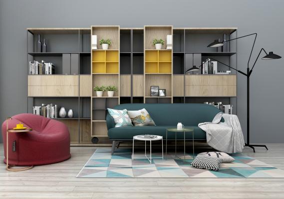 北欧沙发茶几组合 装饰柜 装饰架