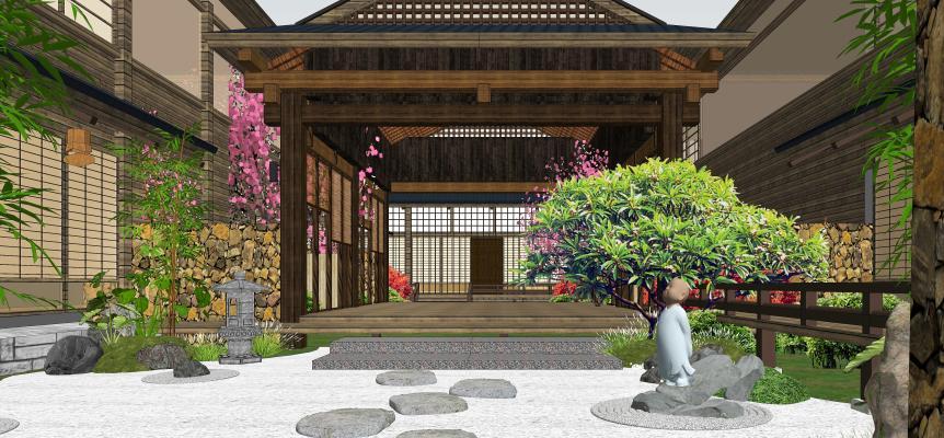日式庭院景观 枯山水 景观小品
