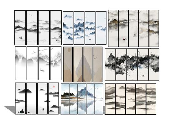 新中式水墨挂画装饰画组合