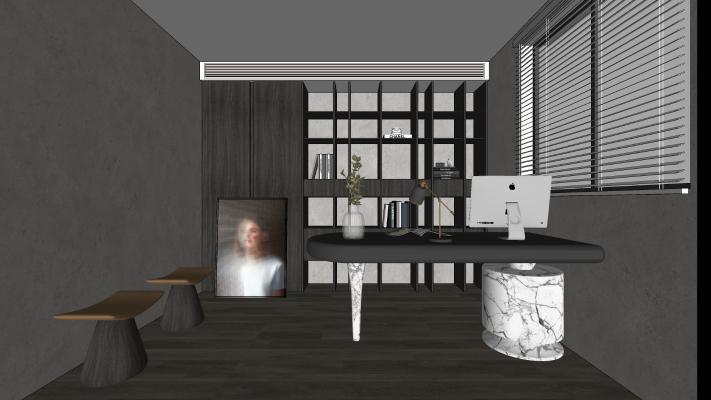 现代书房 软装 坐凳书桌