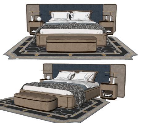 现代双人床 床头柜组合 床尾凳