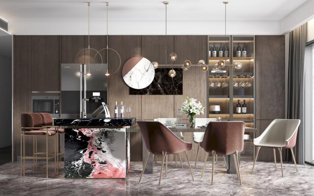 现代餐厅厨房 吧台 吧椅