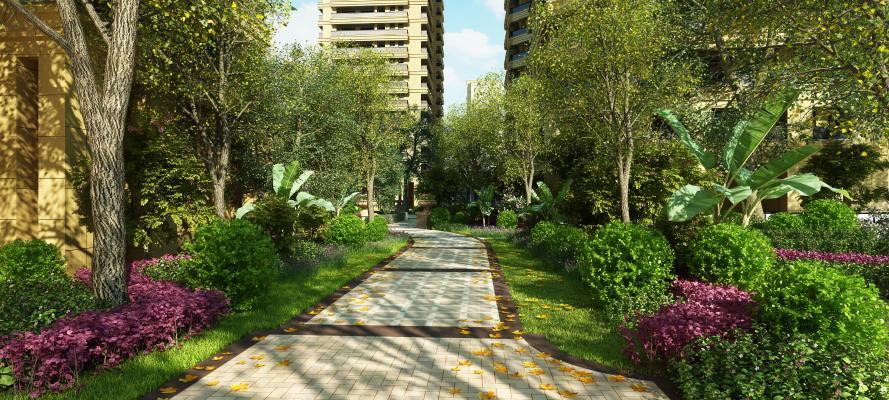 现代小区景观绿化 公园景观树 景观花草