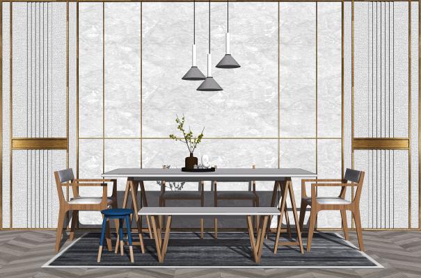 新中式餐桌椅组合 背景墙 装饰品
