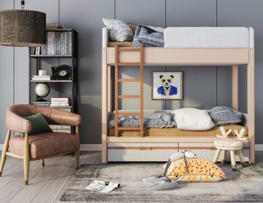 现代儿童床 休闲椅组合