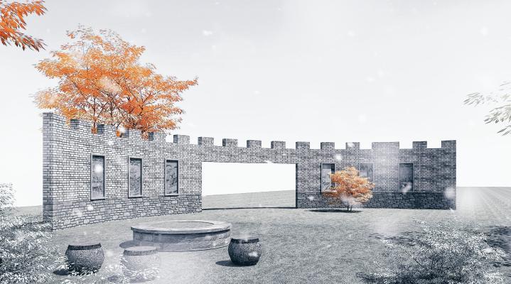新中式景墻 園林景觀小品 護國城墻