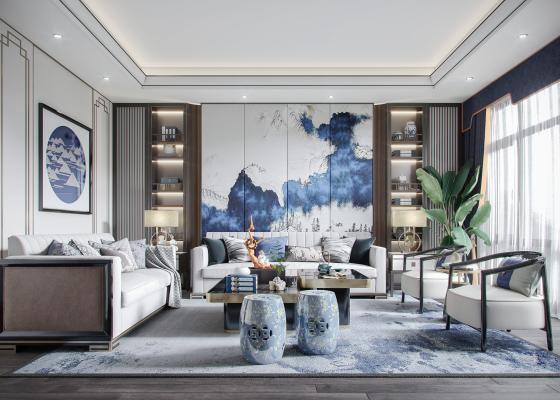 新中式客厅 沙发组合 鼓凳